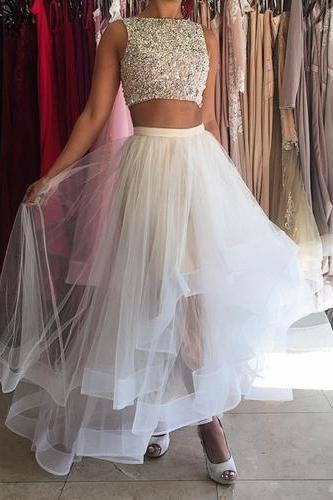 White Tulle Prom Dresses,Two Piece Prom Dresses,Prom Dresses for Teens,Long Prom Dresses,Sexy Prom Dresses,Beaded Party Dresses,Long Evening Dresses