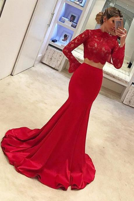 Red Satin Prom Dresses,Two Piece Prom Dresses,Prom Dresses for Teens,Mermaid Prom Dresses,Long Sleeves Prom Dresses,Lace Top Party Dresses,Long Mermaid Evening Dresses