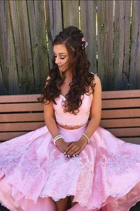 Pink Prom Dresses,Two Piece Prom Dresses,Prom Dresses for Teens,High Low Prom Dresses,Appliques Prom Dresses,2 Piece Party Dresses,Long Evening Dresses