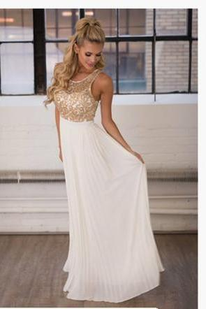 White Prom Dress,A-line Prom Dress,Beaded Prom Dress,Long Sleeveless Prom Dress,Women Prom Dress,Charming Prom Dress