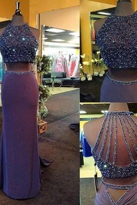 Two Pieces Prom Dresses,2017 Prom Dress,Fashion Prom Dresses,Cheap Prom Dress,Unique Prom Dresses