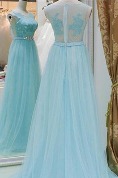 Baby Blue A line Tulle Prom Dresses Long V Neck Party Dresses See Through Back Evening Dresses Floor Length Formal Gowns with Appliques