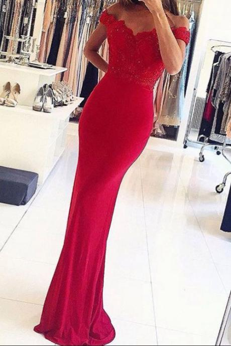 Mermaid Off-the-Shouler Floor-Length Red Stretch Satin Prom Dress with Appliques Beading