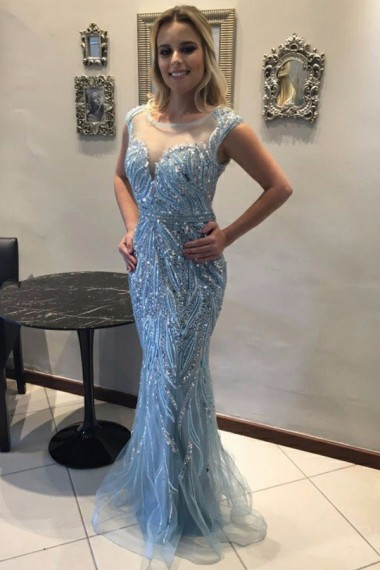Mermaid Crew Floor-Length Blue Sleeveless Tulle Prom Dress with Beading