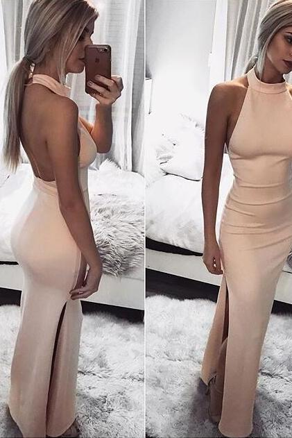 2018 Sexy Pink Prom Dress, Hign Neck Evening Dress, Backless Prom Dresses, Satin Long Formal Dress