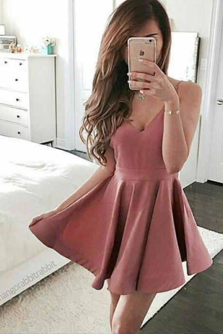 2018 Sexy Prom Dress Party Dress, A-line V-neck Cocktail Dress, Mini Short Prom Dresses