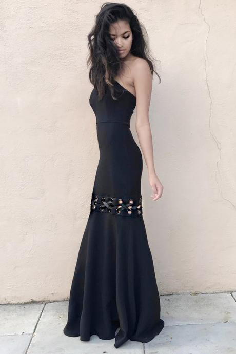 Mermaid Black Strapless Sleeveless Floor-length Prom Dress