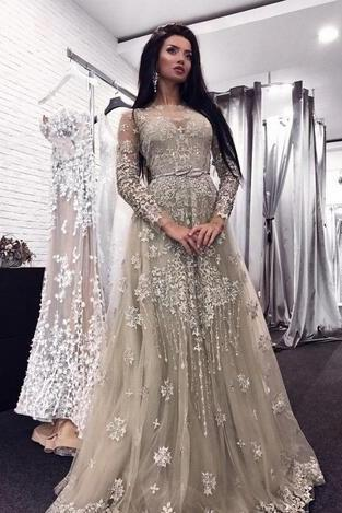 Sexy Sheer Neckline Lace Appliques Beaded Illusion Long Sleeves Floor Length Formal Party Dress Plus Size Prom Gowns