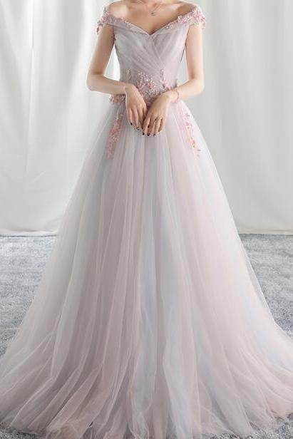 Elegant Prom Dress,A-line Off Shoulder Evening Dress Prom Dresses, Tulle Formal Dress Prom Gown