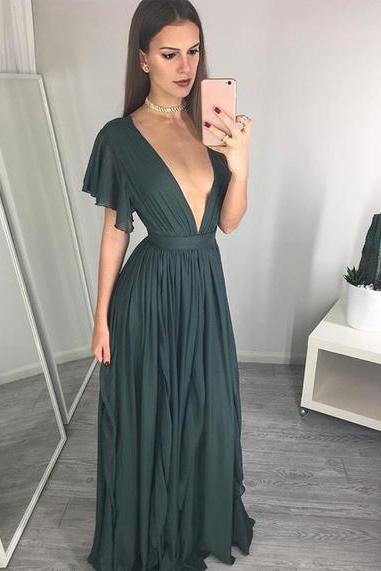 Sexy A-Line V-Neck Dark Green Long Prom/Evening Dress