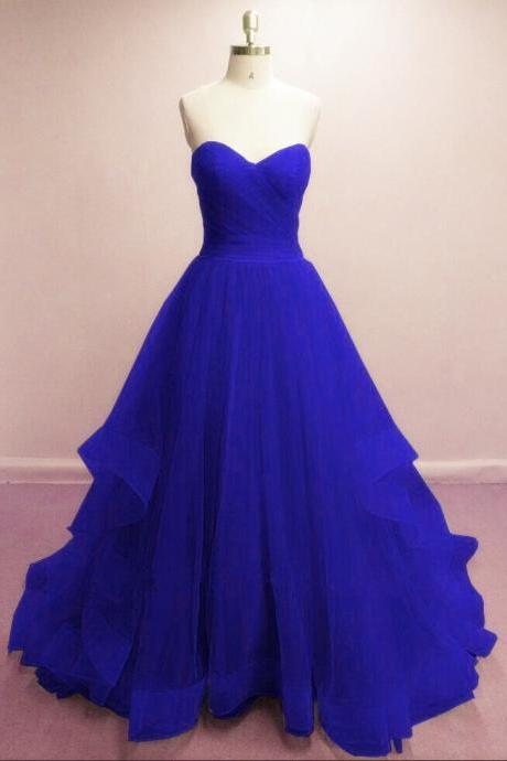 Gorgeous Royal Blue Sweetheart Tull Gowns, Blue Prom Dresses 2018, Sweetheart Beautiful Formal Evening Dress