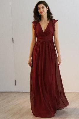 Simple burgundy prom dress, A-line v neck prom dress, long chiffon prom dress