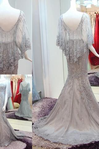 New Arrival Gray Tulle High Neck Appliques Train Prom Dresses