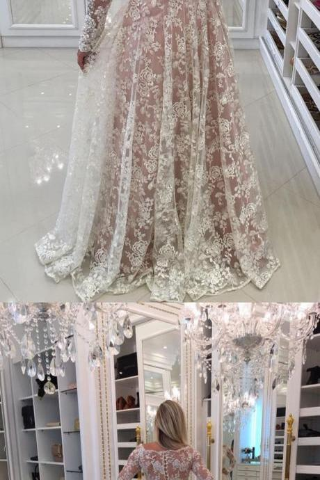 white long lace prom dress, long sleeves prom dress, elegant 2018 prom dress graduation dress