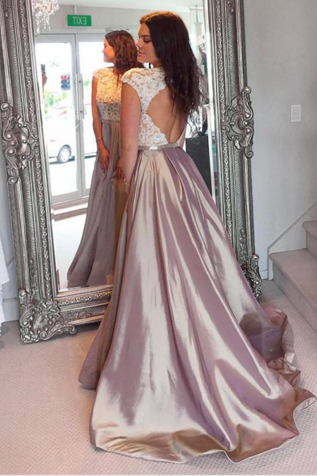 Prom Dresses,Long Satin Prom Dresses,Long Formal Gowns for Teens,Open Back Prom Dresses,Appliques Women Formal Gowns,Long Sexy Party Dresses,Cap Sleeves Prom Dresses,Sexy Evening Dress