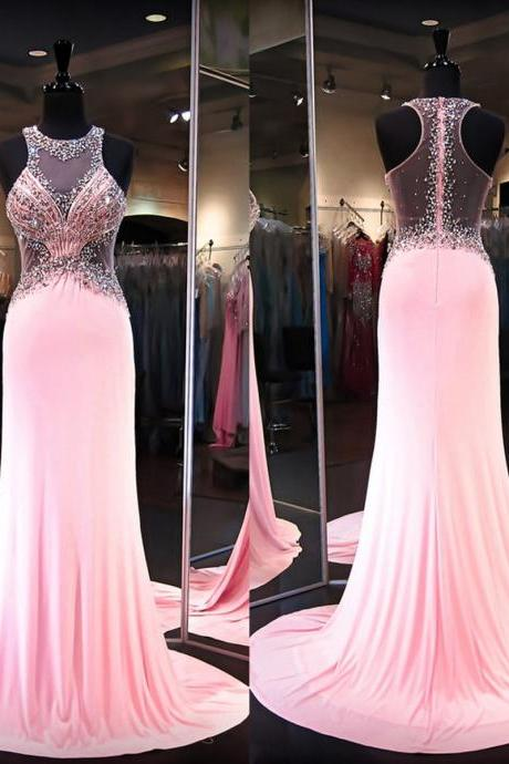 Prom Dress Prom Dresses,Long Pink Prom Dresses,Long Formal Gowns for Women,See Through Back Prom Dresses,Long Sexy Women Formal Gowns,Beaded Long Party Dress