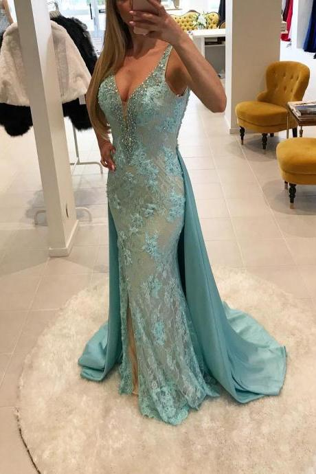 V Neck Prom Dress, Long Prom Dress,Mermaid Prom Dresses, Lace Formal Evening Dress,Sexy Party Dress,Prom Dresses with Train