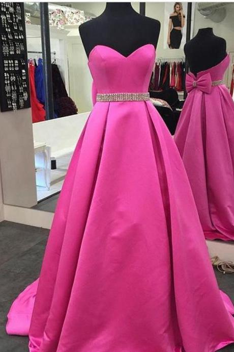 Fuchsia Satin A-line Prom Dresses Long Sweetheart Evening Dresses Formal Gowns Beaded Waist Party Dresses with Bow