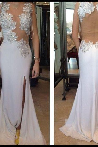 White Chiffon Prom Dresses Long Mermaid See Through Back Evening Dresses Appliques Formal Gowns Sexy Graduation Party Dresses with Side Slit