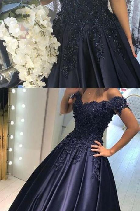 Sexy Prom Dress,Appliques Prom Dress,Off The Shoulder Prom Dress,A-Line Prom Dress,Long Prom Dress,Evening Dress