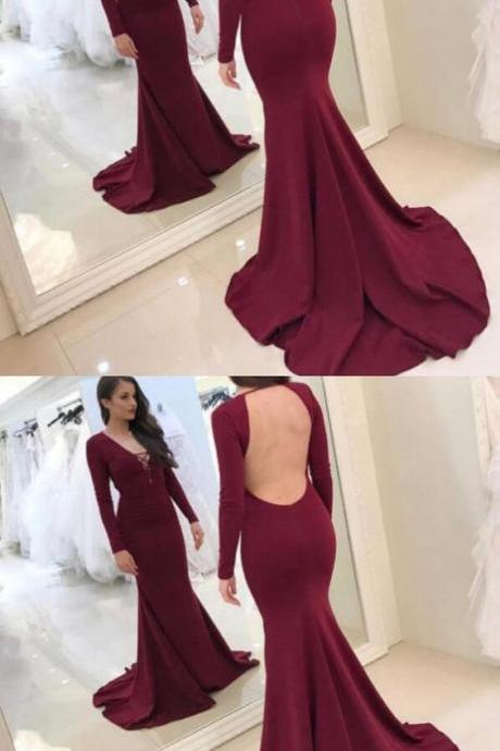 V-Neck Mermaid Backless Prom Dresses,Long Prom Dresses,Cheap Prom Dresses, Evening Dress Prom Gowns, Formal Women Dress,Prom Dress