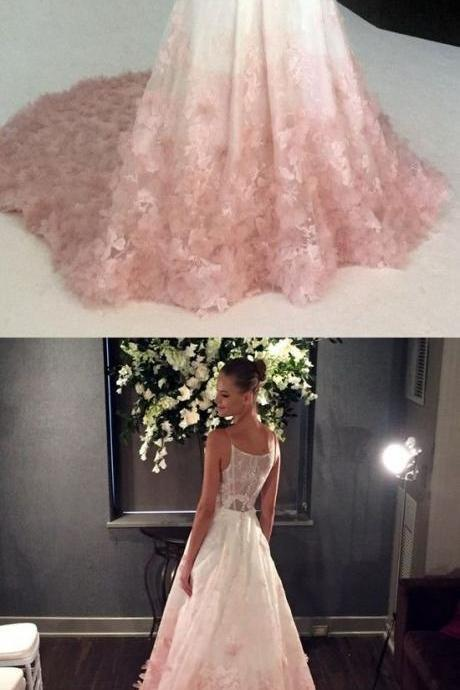 elegant straps white and pink long prom dress wedding dress