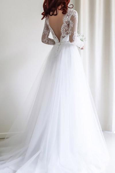 Bridal Gown,Lace Wedding Dress,Long Bridal Gowns,Tulle Bridal Dresses