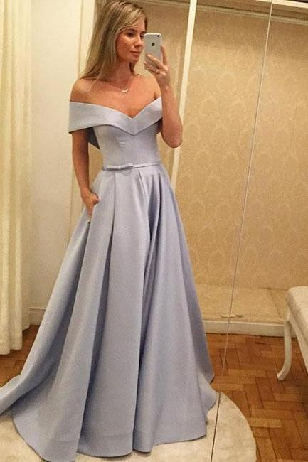 A-Line Prom Dresses,Off-Shoulder Prom Gown,Blue Prom Dress,Satin Evening Dress,Long Prom Dress,Prom Dress With Pockets