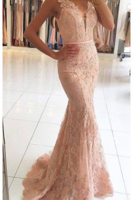 Elegant Prom Dress,Lace Prom Dress,Mermaid Prom Dress,Long Prom Dress,Sleeveless Evening Dress,V Neck Prom Gown