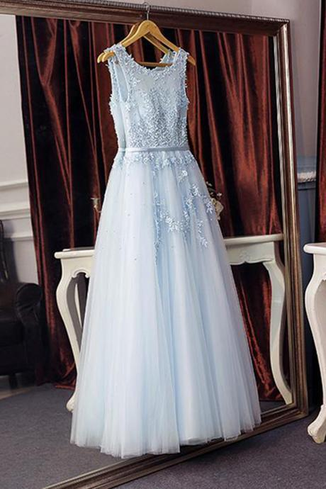 Prom Dresses,new fashion Prom Dresses,Ice blue tulle long sweet16 prom dress with lace appliques