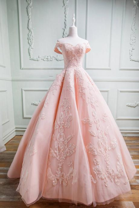 Quinceanera Dress,Sweet 16 Dresses,Spring pink tulle sweetheart neckline long off shoulder evening dress, long formal prom gown