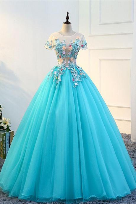 Quinceanera Dress,Sweet 16 Dresses,Blue tulle long round neck evening dress, long see through formal prom dress