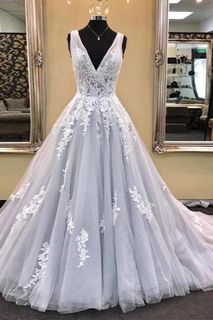 Prom Dresses,new fashion Prom Dresses,Gray tulle V neckling long prom dress with lace appliques