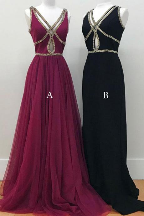 Prom Dresses,new fashion Prom Dresses,Simple hollow out long V neck evening dresses, long beaded tulle prom dress