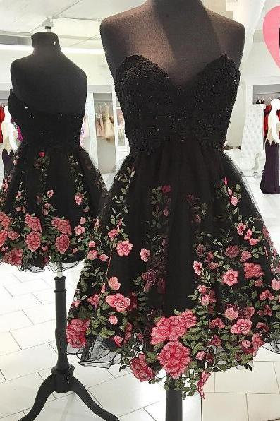 Black Homecoming Dresses,Backless Prom Dress,Sweetheart Prom Dress,Fashion Homecoming Dress,Sexy Party Dress,Custom Made Evening Dress