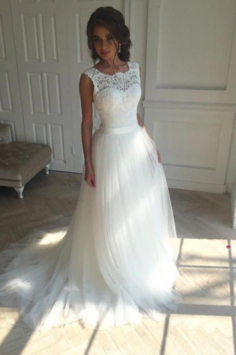 White Wedding Dresses,Sleeveless Wedding Dresses,Sexy Bridal Gowns with Appliques,Lace Wedding Dress,A Line Wedding Dress
