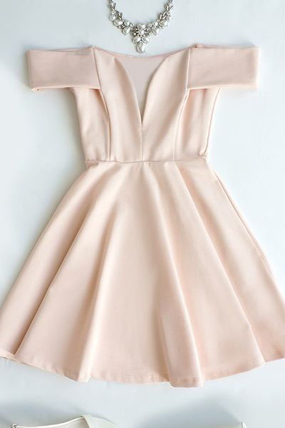 Cute Homecoming Dresses,Off-the-Shoulder Homecoming Dress,Light Pink Prom Dress,V-Neck Evening Dress,Short Party Dress