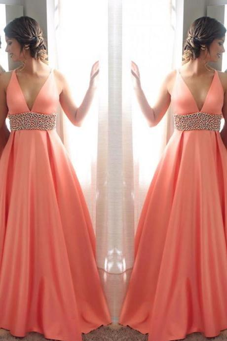 Orange v neck beads long prom prom, orange evening dress for teens