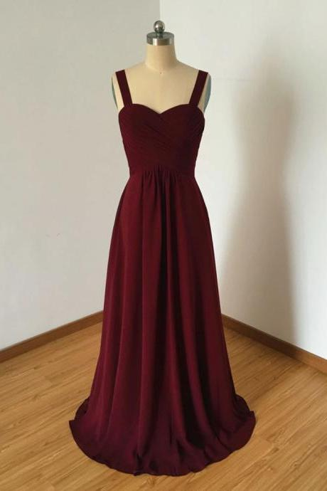 Simple sweetheart neck chiffon burgundy long prom dress, burgundy evening dress