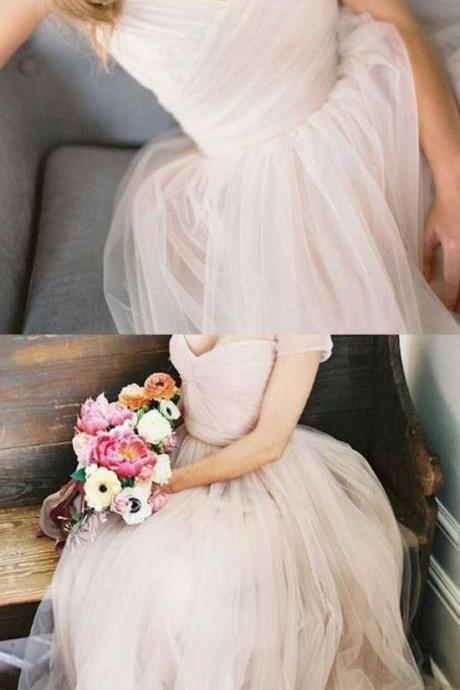Simple champagne tulle long prom dress, tulle wedding dress
