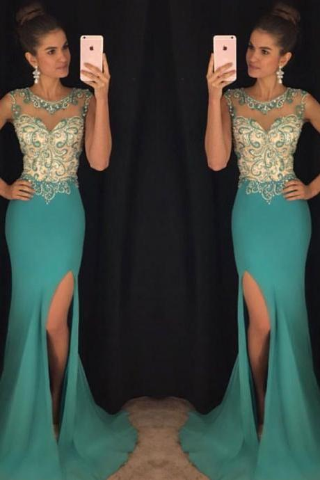 Green round neck chiffon mermaid long prom dress, green evening dress