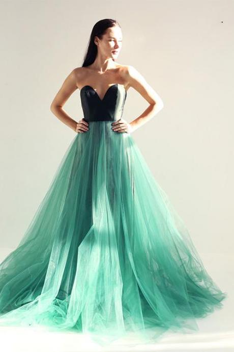 Green sweetheart neck tulle long prom dress, green tulle evening dress