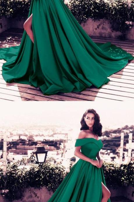 dark green prom dress,satin formal dress,emerald green prom dress,slit dress,elegant prom dresses 2018,off the shoulder evening gowns,dark green evening dress