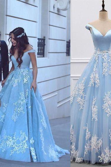 satin and tulle light blue ball gown prom dresses 2018 lace appliques evening gowns for engagement party