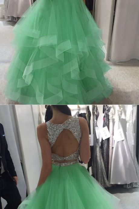 mint green prom dress,ball gowns prom dress,two piece prom dress,prom dresses 2018,ruffle prom dress