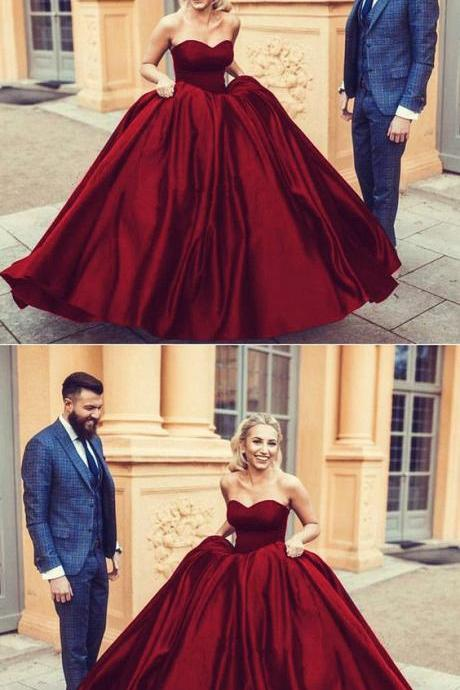 Satin Ball Gown Wedding Dress Sweetheart Prom Gowns Maroon