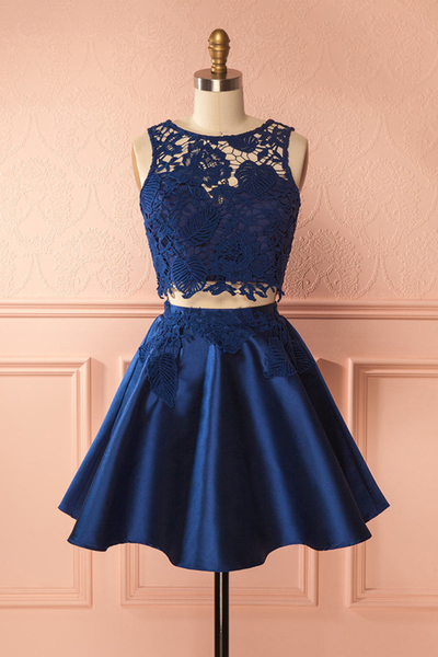 Cute navy blue lace two pieces short prom dress, mini party dress