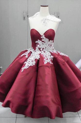 Unique burgundy satin short prom dress, appliques party dress