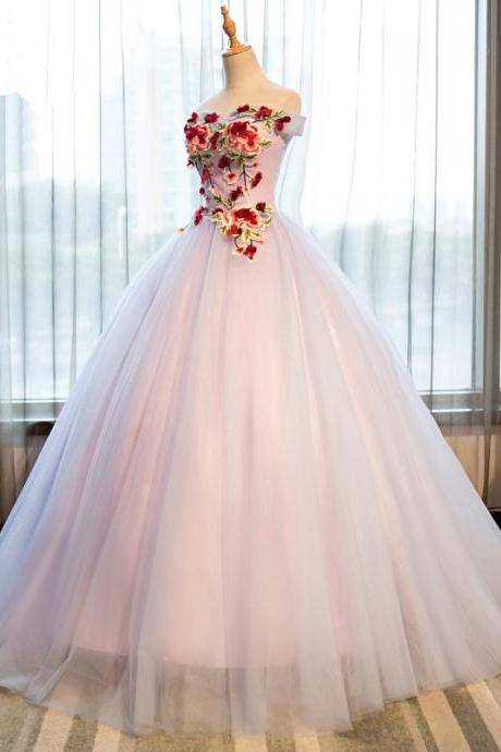 2018 princess strapless off shoulder flower long tulle prom gown, formal evening dress