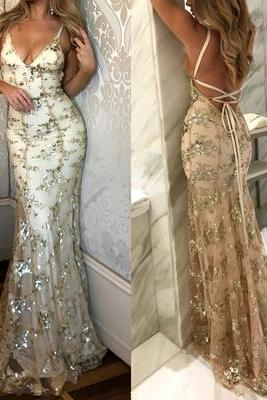 Gorgeous prom dress, open back prom dress, sexy prom dress, mermaid prom dress, formal long prom dress, evening dress
